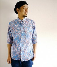 ANACHRONORM Clothing Bandana Regular Fit 1/2 Sleeve B.D Shirt BLUE