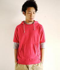JIGSAW HEAVY WEIGHT AMERICAN COTTON S/S PULL-OVER HOODY FADED RED