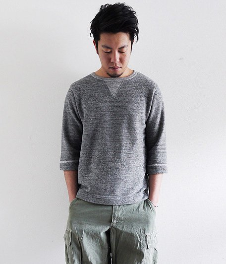 JIGSAW MELANGE FLEECE  3/4 SLEEVE T-SHIRT [CHARCOAL MELANGE]