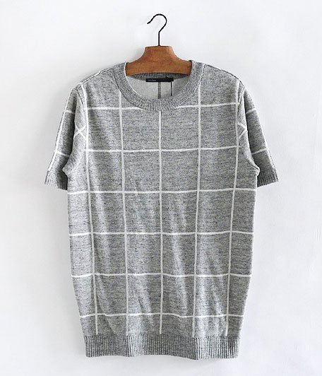 JIGSAW LINEN WINDOWPANE PULL-OVER [GRAY / WHITE]