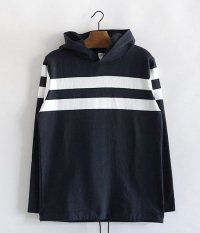 JIGSAW MEDIUM WEIGHT PANEL BORDER PULL-OVER HOODY [NAVY/WHITE]