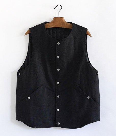 ANACHRONORM Wool Gabardine Mid-Layer Quilt Warm Vest [BLACK]