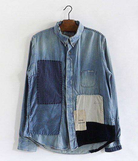 H.UNIT STORE LABEL Fly Front  Denim Shirt Customized [INDIGO]