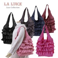 LALUICE/フリル携帯エコバッグ(大)/黒・ネイビー・ワイン・チャコール・ローズピンク・ピンク
