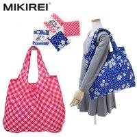 MIKIREI/ポケットサイズ/大容量・エコバッグ/花柄ブルー・レッドチェック