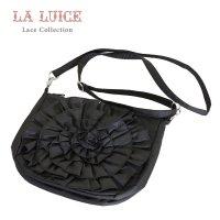 LALUICE/フリル花デザイン/ソフト軽量/ポショット/黒