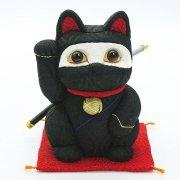 江戸木目込人形 招き猫 忍者(黒)