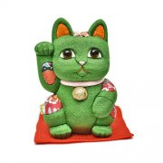 江戸木目込人形 招き猫 風水(緑) 大 ※座布団付