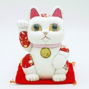 江戸木目込人形 招き猫 風水(白) 大 ※座布団付