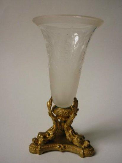 アンティーク 花瓶 エナメル クリスタル ヴェース 金彩 銅土台 スズラン 文様 エングレーヴ