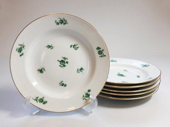 マイセン プレート■グリーンフラワー 散らし小花 サラダプレート 6枚 皿 1級 レア