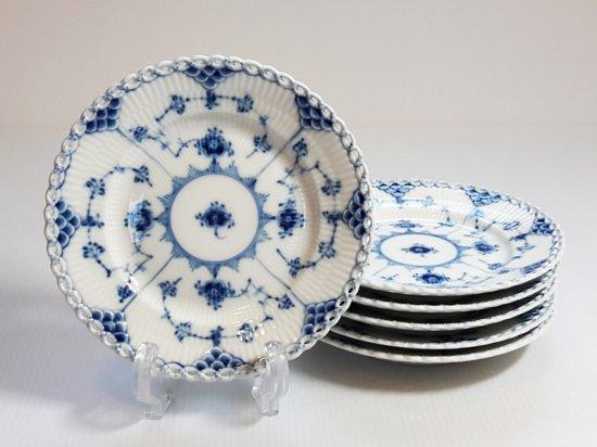 ロイヤルコペンハーゲン プレート■ブルーフルーテッド フルレース デザートプレート 6枚 皿 1級