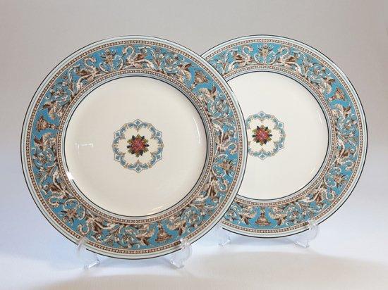 ウェッジウッド プレート■フロレンティーン ターコイズ ディナープレート 2枚 大皿 WEDGWOOD 1級