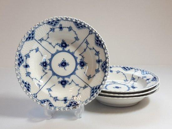 ロイヤルコペンハーゲン プレート■ブルーフルーテッド フルレース スーププレート 皿 4枚 1級品