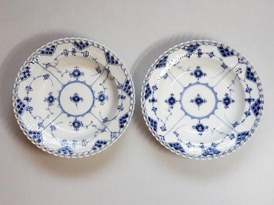 ロイヤルコペンハーゲン プレート■ブルーフルーテッド フルレース スーププレート 皿 2枚 2