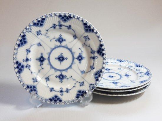 ロイヤルコペンハーゲン プレート■ブルーフルーテッド フルレース ランチプレート 皿 4枚 1級品