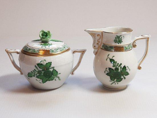 ヘレンド シュガーポット&クリーマー■アポニー グリーン カップ ミルク差し 2点 インドの華 1級 美品