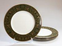 ウェッジウッド プレート■フロレンティーン グリーン&ゴールド ディナープレート 4枚 皿 1級品