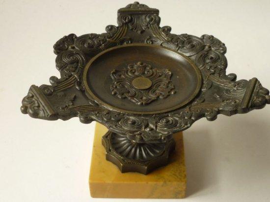 ブロンズ リングトレー アンティーク 銅 大理石 リングスタンド デコレーション ボウル 脚付き 1850