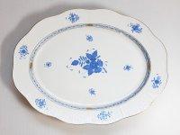 ヘレンド プレート■アポニー ブルー オーバルプレート トレイ 大皿 インドの華 1級品