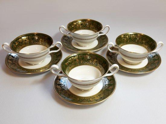 ウェッジウッド カップ&ソーサー■フロレンティーン グリーン&ゴールド スープC&S 4客 1級 美品 1