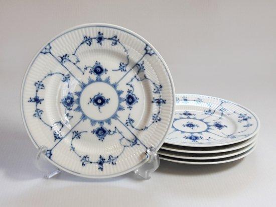 ロイヤルコペンハーゲン■ブルーフルーテッド プレインレース サラダプレート 皿 5枚 1級 美品