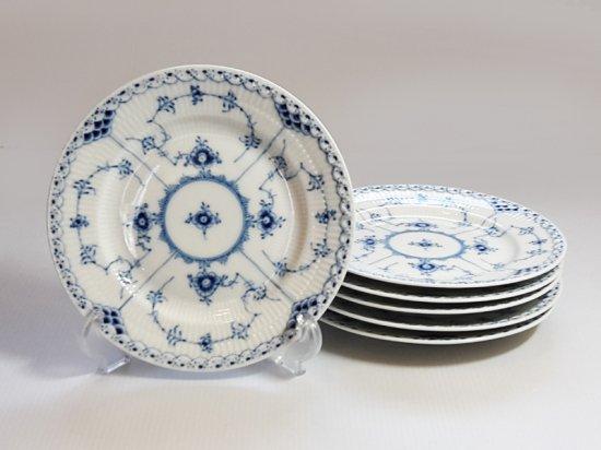 ロイヤルコペンハーゲン プレート■ブルーフルーテッド ハーフレース サラダプレート 6枚 皿 1級品 1