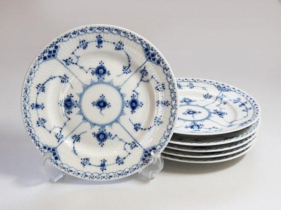 ロイヤルコペンハーゲン プレート■ブルーフルーテッド ハーフレース サラダプレート 6枚 皿 1級品 2