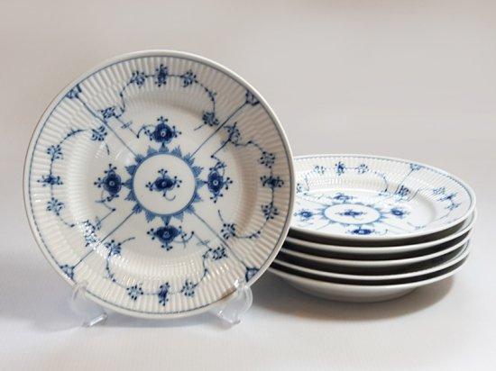 ロイヤルコペンハーゲン プレート■ブルーフルーテッド プレインレース ランチプレート 皿 6枚 1級品