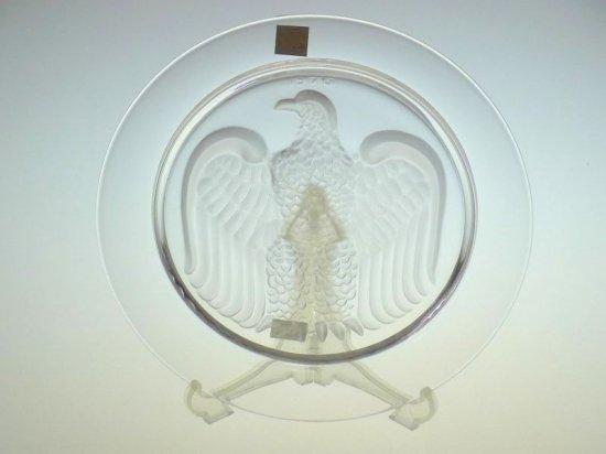 ラリック プレート ● イヤー プレート クリスタル 皿 ワシ 鳥 1976 フロステッド 未使用 箱付