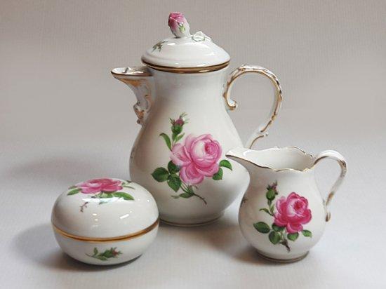 マイセン セット■ピンクローズ ピンクのバラ コーヒーポット シュガーポット クリーマー 3点