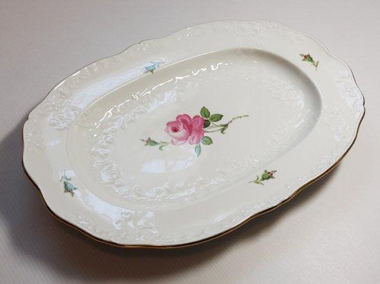 マイセン プレート■ピンクローズ ピンクのバラ エンボス オーバルプレート 大皿 1枚 楕円 Meissen