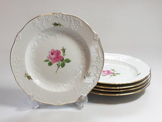 マイセン プレート■ピンクローズ ピンクのバラ エンボス ランチプレート 皿 5枚セット Meissen