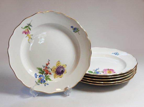 マイセン プレート■ベーシックフラワー ブーケ 三つ花 ディナープレート 大皿 6枚 Meissen