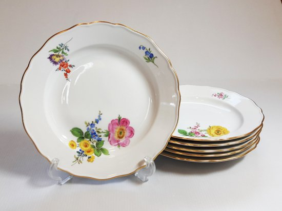 マイセン プレート■ベーシックフラワー ブーケ 三つ花 ランチプレート 皿 6枚 Meissen