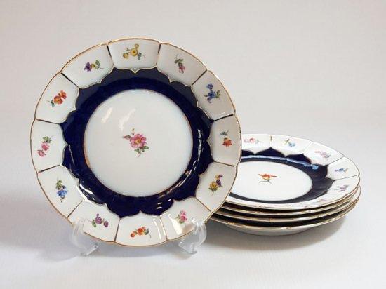 マイセン プレート■Bフォーム サラダプレート 皿 金彩 小花 コバルトブルー B-Form 5枚セット