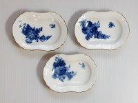 ロイヤルコペンハーゲン プレート■ブルーフラワー カーブ 金彩 バタープレート 皿 楕円 3枚 1級 美品