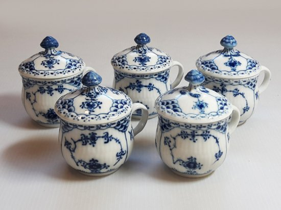 ロイヤルコペンハーゲン■ブルーフルーテッド ハーフレース 蓋付きカップ 5個セット 1級品 美品