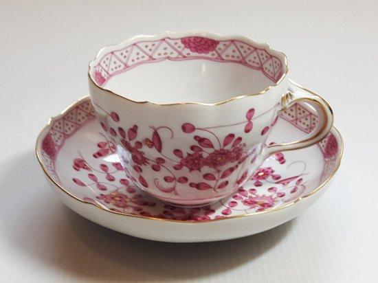 マイセン■インドの華 リッチピンク カップ&ソーサー C&S 1客 1級品 美品 1