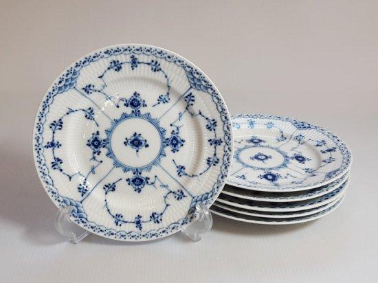 ロイヤルコペンハーゲン プレート■ブルーフルーテッド ハーフレース サラダプレート 皿 6枚セット 1級品 2