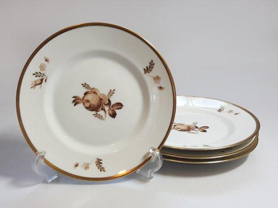ロイヤルコペンハーゲン プレート■ブラウンローズ サラダプレート 皿 4枚 薔薇 1級品 1