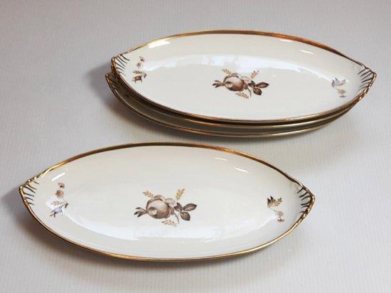 ロイヤルコペンハーゲン プレート■ブラウンローズ 楕円型プレート 皿 4枚 薔薇 1級品 1
