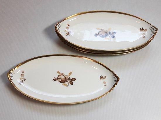 ロイヤルコペンハーゲン プレート■ブラウンローズ 楕円型プレート 皿 4枚 薔薇 1級品 2