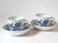 マイセン カップ&ソーサー■ブルーオニオン モカC&S 2客セット Meissen 1級品 美品 2