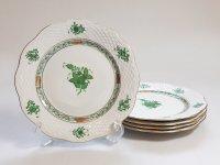 ヘレンド プレート■アポニー グリーン サラダプレート 皿 5枚セット HEREND 1級品 1