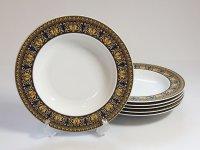 ローゼンタール プレート■ヴェルサーチ メデューサ ブルー スーププレート 6枚セット スープ皿