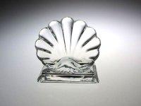 バカラ メニュー ホルダー ● シェル 貝殻 メモ カード ホルダー 置き手紙 メッセージ クリスタル 未使用 Shell