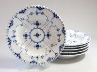 ロイヤルコペンハーゲン プレート■ブルーフルーテッド フルレース スーププレート 大皿 6枚セット