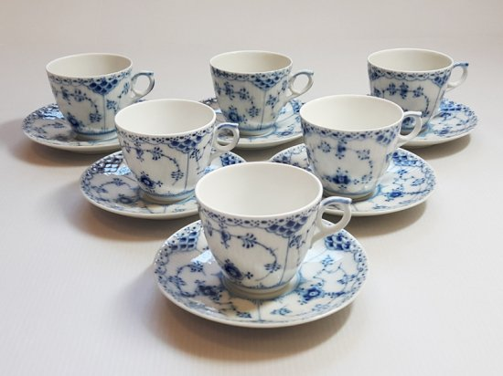 ロイヤルコペンハーゲン カップ&ソーサー■ブルーフルーテッド ハーフレース コーヒーC&S 6客セット 1級品…