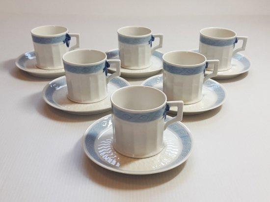 ロイヤルコペンハーゲン カップ&ソーサー■ブルーファン コーヒーC&S 6客セット レア Blue Fan 1級品 2